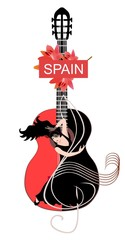 Guitar soul. Beautiful spanish girl dancing flamenco on treble clef against huge red-bleck acoustic guitar. Banner, poster, invitation card.