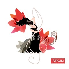 Beautiful spanish flamenco dancer in black dress dancing on treble clef against huge red lily flowers. Luxuty logo, poster, banner, invitation card.