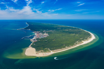 Fototapeta Aerial view of Hel Peninsula in Poland, Baltic Sea and Puck Bay (Zatoka Pucka) Photo made by drone from above.