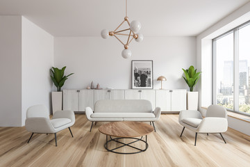White living room interior with picture