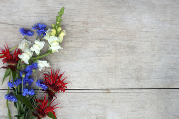 Horizontal image of red, white, and blue flowers against a weathered wood background, with copy space