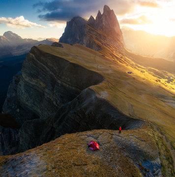 Scenic view of Seceda Peak during sunrise
