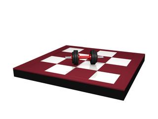 Miniatur Hantel auf Schachbrett. 3d render