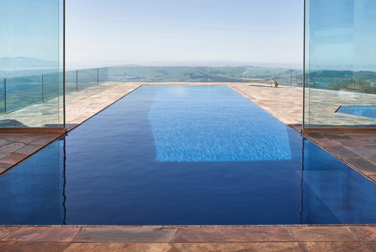 Architecture image of modern design indoor / outdoor pool