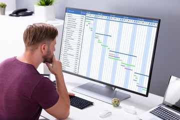 Young Businessman Looking At Gantt Chart On Computer In Office