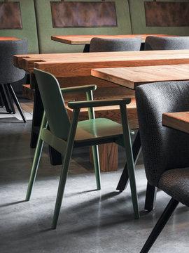 Simple design of tables in restaurant