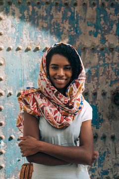 Beautiful moroccan woman with head scarf