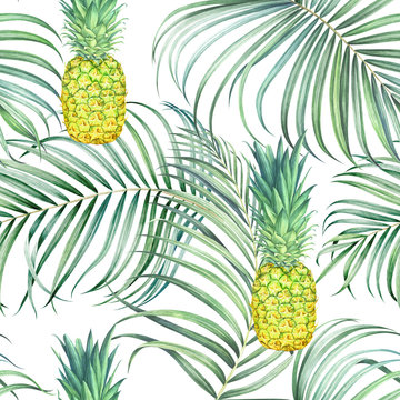 Seamless pattern with pineapples and tropical branches. Watercolor illustration.