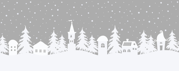 Christmas background. Fairy tale winter landscape. Seamless border. There are fantastic houses and fir trees on a gray background. White silhouettes and snowing in the image. Vector illustration