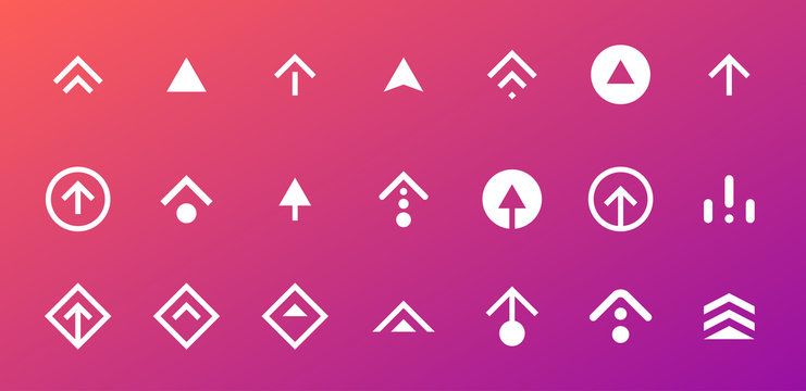 Swipe up button icon set. Application and social network scroll arrow pictogram for stories design blogger app. Vector flat modern gradient story ui illustration