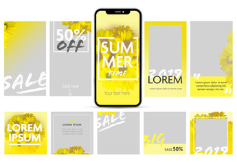 Social Media Post Set Layout with Yellow Flowers