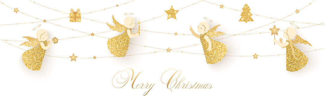 Merry Christmas card with angels and gifts
