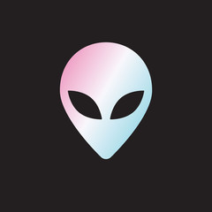 Vector flat holographic alien face icon logo isolated on black background