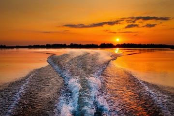 Sailing through beautiful areas of Danube Delta unique landscape at sunset