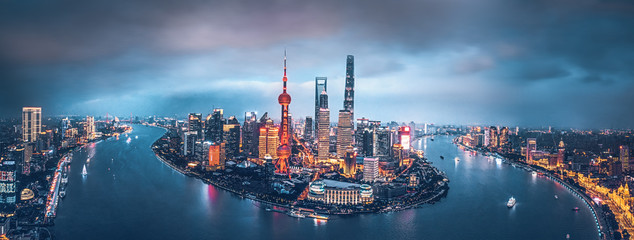 Shanghai skyline at night Wall mural