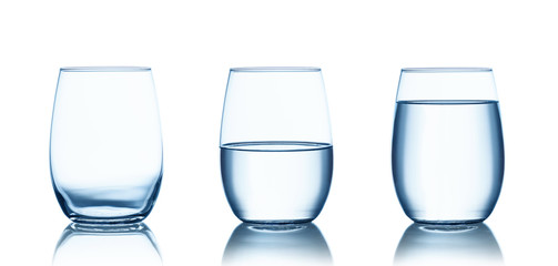 Empty,half and full water glasses . Isolated on white