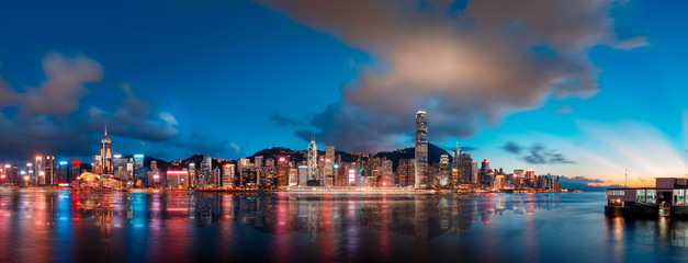 Wall Mural - Hong Kong Victoria Harbor in beautiful sunset