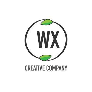 Initial Letter WX Creative Green Logo Concept