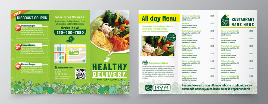 Food Delivery Flyer Pamphlet brochure design vector template in A4 size Tri fold. Healthy Meal, Restaurant menu template