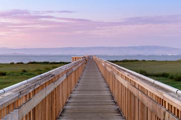 Canvas Prints Cappuccino Twilight over the new boardwalk at Baylands Nature Preserve. Palo Alto, Santa Clara County, California, USA.