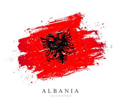 Flag of Albania. Vector illustration on white background.
