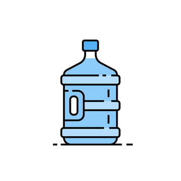 5 gallon water bottle line icon. Large clear blue plastic bottled mineral water container symbol. Vector illustration.