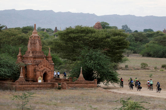 Hundreds of cyclists ride to Bagan to celebrate Bagan being named as a UNESCO World Heritage Site in Bagan, Myanmar