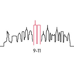 New York linear silhouette. Vector design template for USA Patriot Day 9/11.