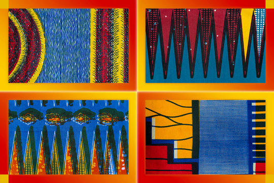 Mood board of manufactured African fabrics (four pieces of cotton)