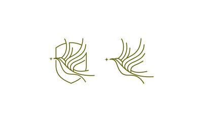 bird dove logo icon vector line art
