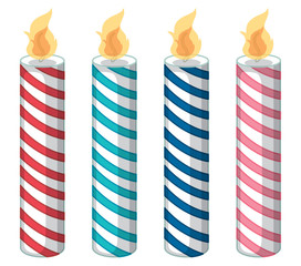 Set of color candles isolated