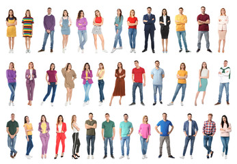 Collage of attractive people on white background
