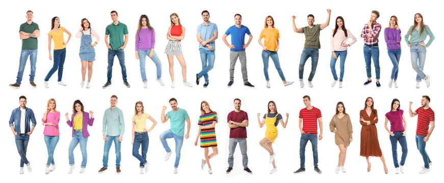Collage of emotional people on white background. Banner design
