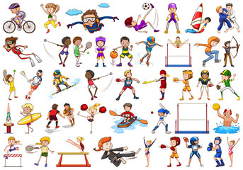 Sport activities by boys, girls, kids, athletes isolated