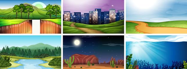 Day and night nature scene set