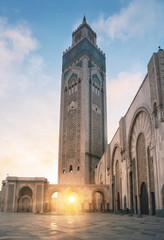 Mosque Hassan II in Casablanca in Morocco at sunset with a beautiful Sunlight
