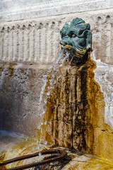 Printed kitchen splashbacks Fontaine Old fountain in the historic centre of Lyon town, France
