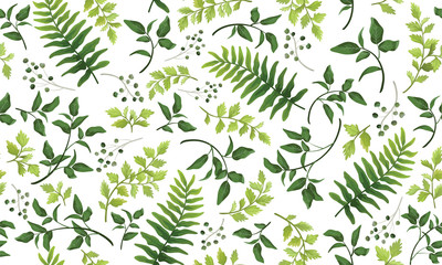 Beautiful pattern seamless of fern, palm, natural branches, green leaves, herbs, hand drawn watercolor style fresh rustic eco. Vector decorative cute elegant illustration isolated white background Fototapete