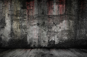 Zelfklevend Fotobehang Baksteen muur Bloody background scary old bricks wall and floor, concept of horror and Halloween