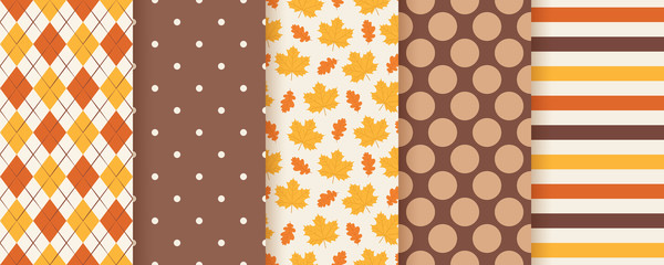 Autumn pattern. Vector. Seamless background with fall leaves, polka dot, stripes and rhombus. Set seasonal geometric print. Cute abstract wallpaper textures. Colorful cartoon illustration. Flat design Wall mural