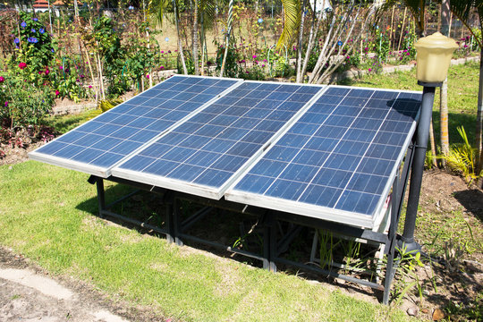 Solar panels in the park background. Row of small solar cell panels in the garden
