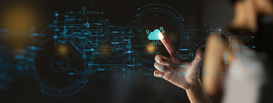 businesswoman hand pushing icon Ui of Cloud Computing Technology Internet Storage Network Concept
