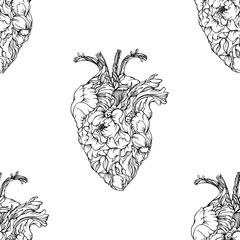 Vector seamless pattern with anatomical shape hearts made from flowers. Black and white line art