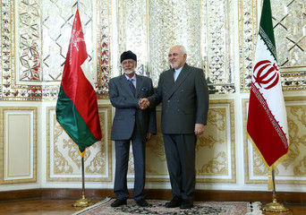 Oman's Minister of State for Foreign Affairs Yousuf bin Alawi bin Abdullah shakes hands with Iran's Foreign Minister Mohammad Javad Zarif in Tehran