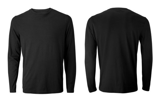 Men's long sleeve black t-shirt with front and back views isolated on white