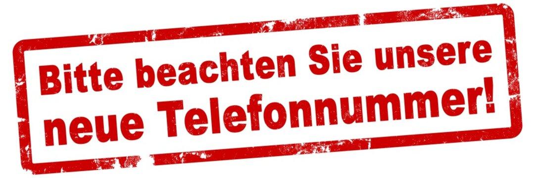 nlsb858 NewLongStampBanner nlsb - german text - Bitte beachten Sie unsere neue Telefonnummer: Stempel / einfach / rot / Vorlage - Seitenverhältnis 3:1 - 3zu1 - new-version - xxl g8193