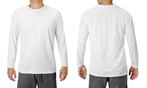 White Long Sleeved Shirt Design Template isolated on white