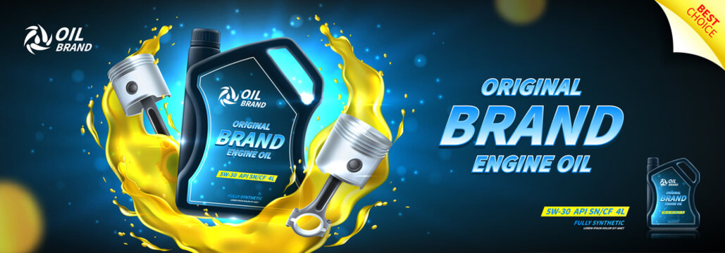 Engine oil advertisement banner. Vector illustration with realistic pistons and canister on bright background with motor oil splashes. 3d ads template.