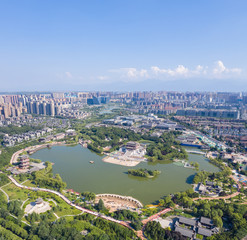 Wall Mural - aerial view of  beautiful tang dynasty style lake park in xian