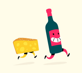 Illustration of running cheese and a bottle of wine. Characters drink and snack. Icons for the site on a light background. Sign, logo for a wine shop or cheese factory. Alcohol delivery.
